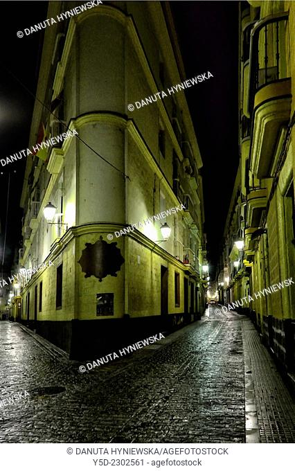 old town of Cadiz by night, Cadiz, Andalusia, Spain
