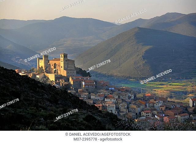 Cornago castle and village, Biophere reserve, Rioja baja, Spain, Europe