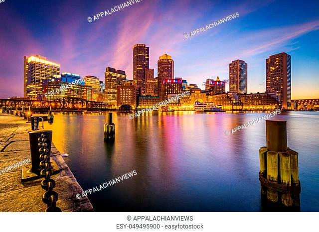 The Boston skyline at night, seen from Fort Point in South Boston, Massachusetts