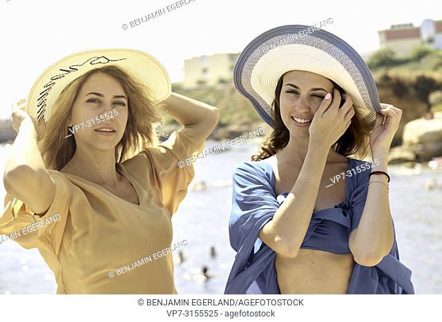Two women by the sea, Crete, Greece