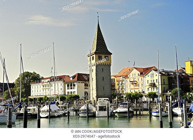 harbour with Mangturm Tower, Lindau, Bavaria, Germany