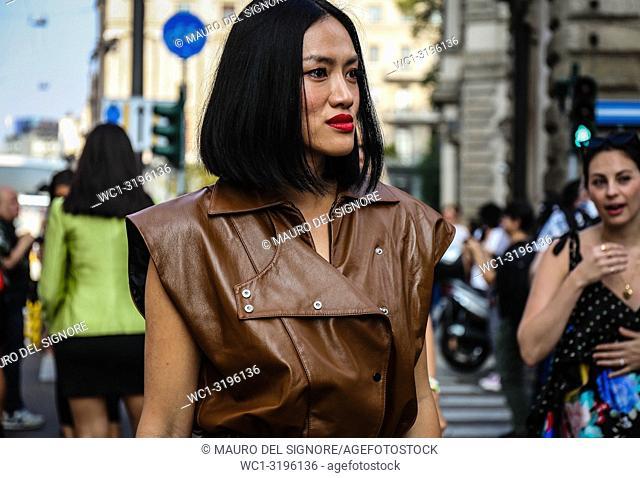 MILAN, Italy- September 20 2018: Tiffany Hsu on the street during the Milan Fashion Week