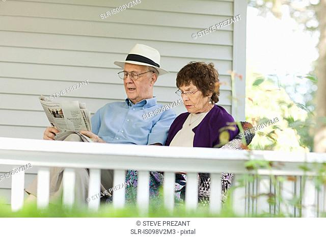 Senior couple reading