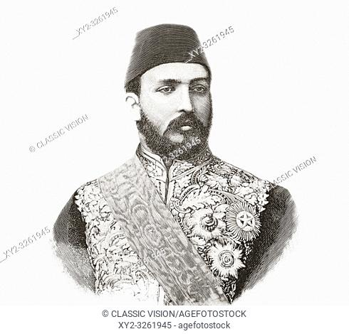 """Mohamed Tewfik Pasha, 1852 â. """" 1892, aka Tawfiq of Egypt. Khedive, or viceroy of Egypt and the Sudan between 1879 and 1892 and the sixth ruler from the..."""