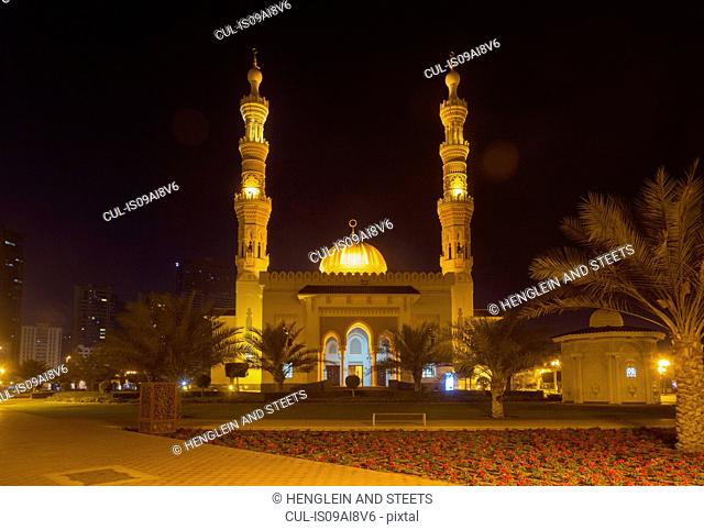 Altaqwa Mosque at night, Sharjah, United Arab Emirates