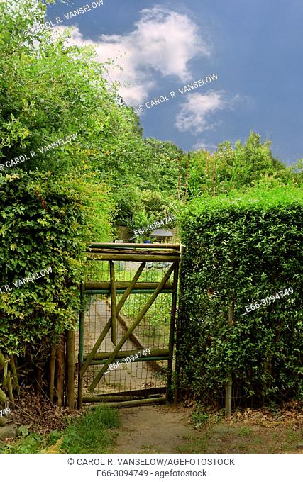 fence and gate leading to house and yard in the Brunsummerheid in Heerlen, in the Limburg province of the Netherlands
