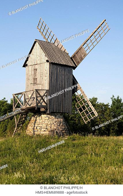 Estonia Baltic States, Saare Region, Muhu Island, windmill