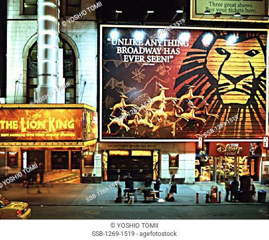 Theater lit up at night, New Amsterdam Theatre, New York City, New York, USA