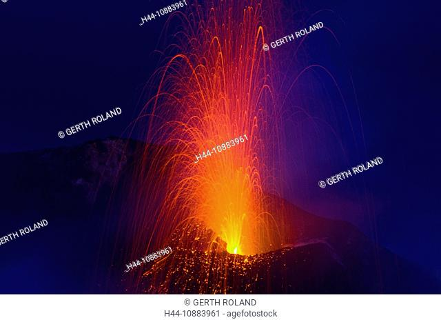 Stromboli, Italy, Europe, Lipari Islands, island, isle, volcano, crater, volcano eruption, eruption, lava, glowing, heat, daybreak, smoke