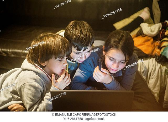 Three brothers use a laptop computer