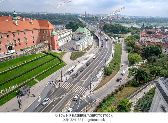 Birds eye view of a highway and cityscape in Warsaw, Poland