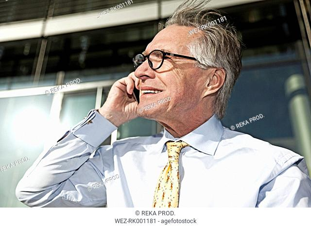 Portrait of smiling senior businessman telephoning with smartphone