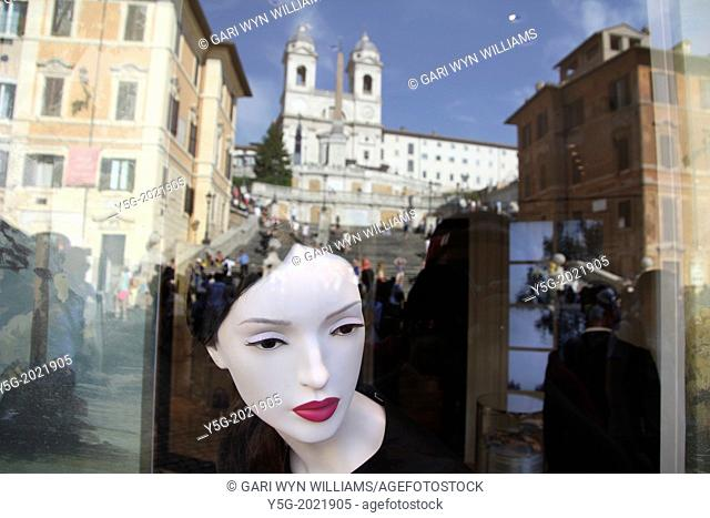 christian dior shop window by the spanish steps in rome italy