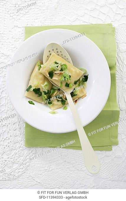 Swabian ravioli filled with courgette and goat's cheese