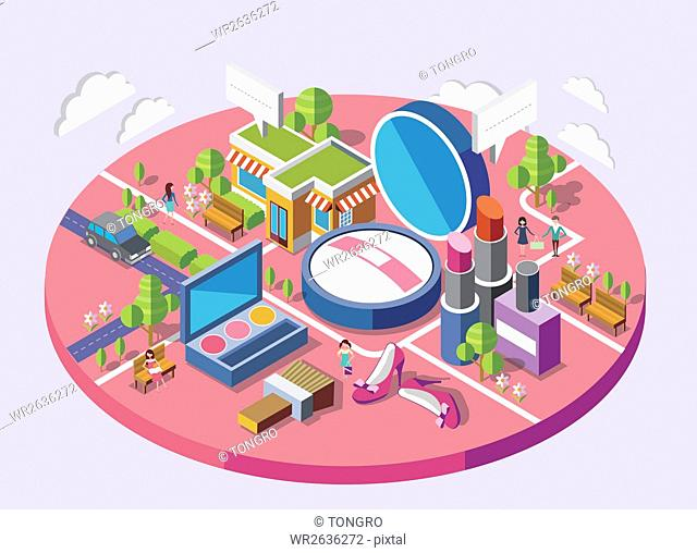 Map with buildings and cosmetic products