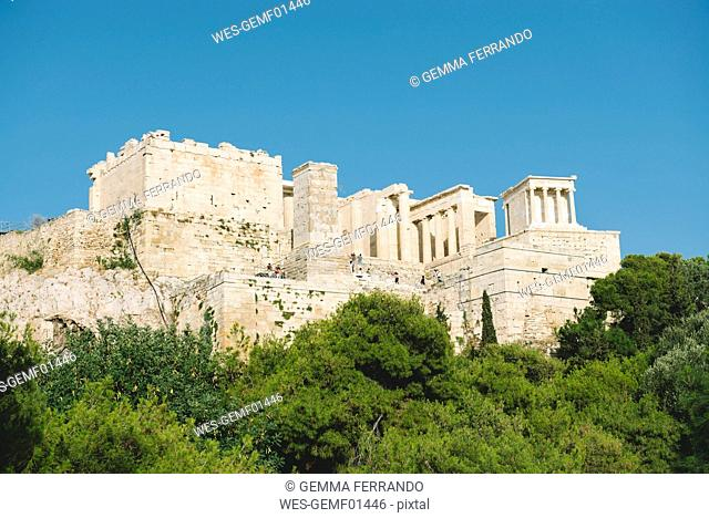 Greece, Athens, The Acropolis surrounded by pines in a sunny day