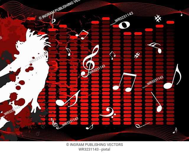 Musical illustration with notes and a man jumping on a black background