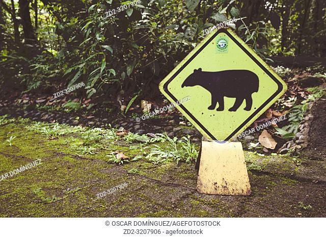 Baird's Tapir (Tapirus bairdii) warning sign. Braulio Carrillo National Park. Heredia province. Costa Rica