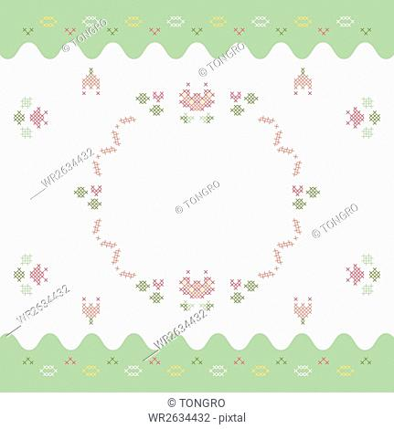 Invitation card with cross stitch patterns of flowers