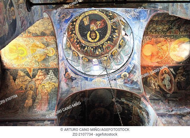 Biserica Domneasca Orthodox church, painted frescos, XIV century, Curtea de Arges, Wallachia, Romania