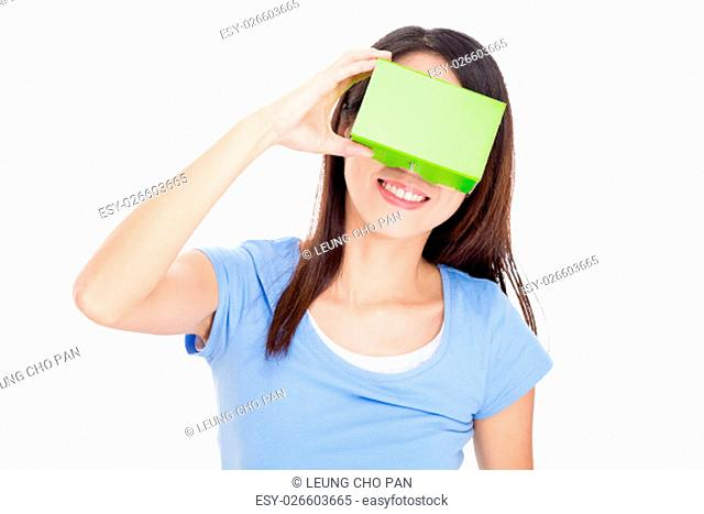Woman wearing virtual reality goggle