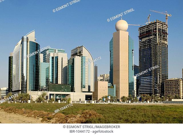 Multistory buildings in the city centre of Abu Dhabi, Emirate of Abu Dhabi, United Arab Emirates, Arabia, Near East
