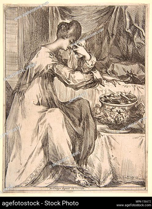 The Suicide of Portia. Artist: Jacques Bellange (French, Bassigny (?) ca. 1575-1616 Nancy); Date: 1612-16; Medium: Etching with stippling and engraving;...