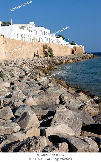 Tunisia - Hammamet - The medina from the seaside