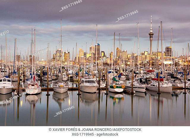 Westhaven Marina and view of the skyline of Auckland, Auckland, North Island, New Zealand