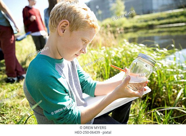 Curious schoolboy examining jar on field trip