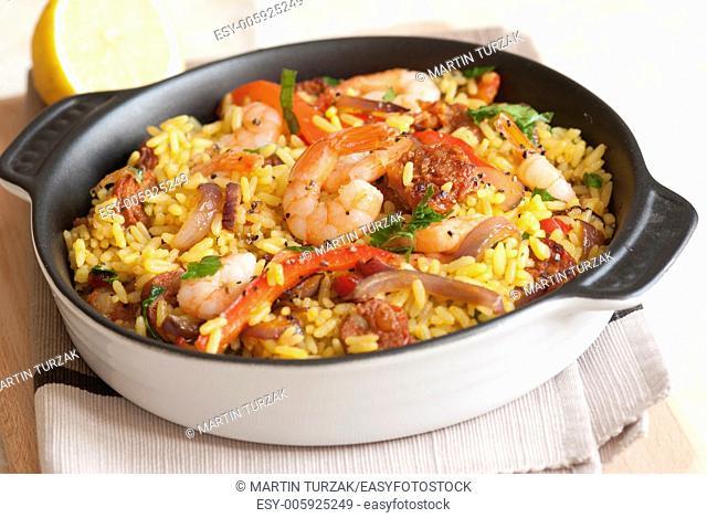Spanish paella with king prawns and chorizo