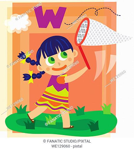 Illustration of girl catching letter W with butterfly net