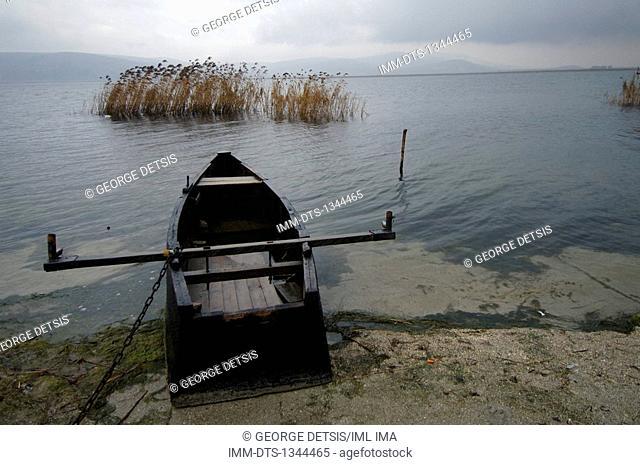 Boat moored in Vergoritis lake. Florina, West Macedonia. Greece, Europe