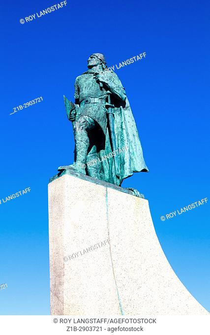 Statue of Leifur Eiriksson in front of Hallgrimskirkja church in Reykjavik
