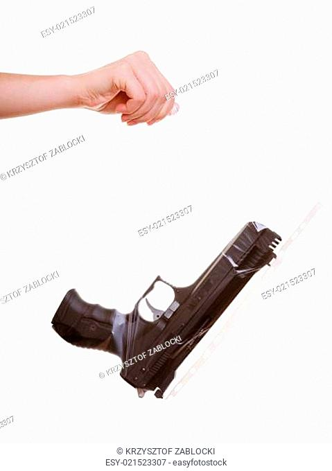 Hand holds bag with gun marked evidence of a crime