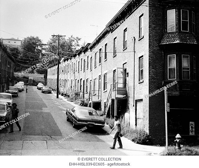 Yonkers, New York, ca. 1980. Moquette Row Housing, built in the 1880s, with each individual house, approximately 17 - 20 feet wide
