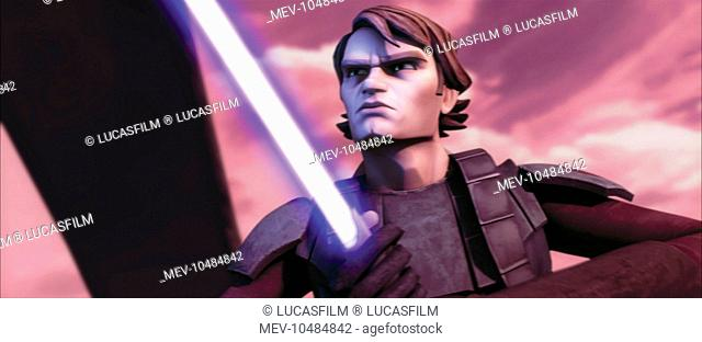 STAR WARS: THE CLONE WARS Jedi Knight Anakin Skywalker, his lightsaber at the ready, prepares for battle