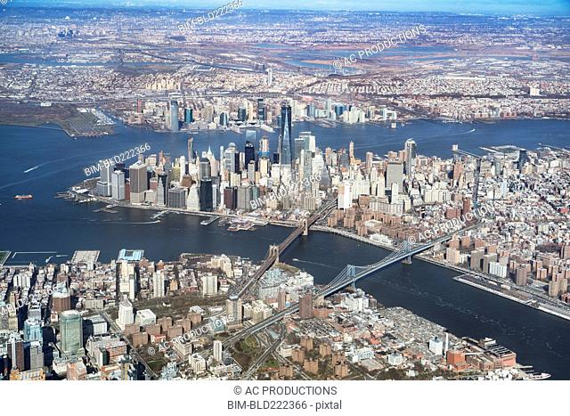 Aerial view of river and city, New York, New York, United States