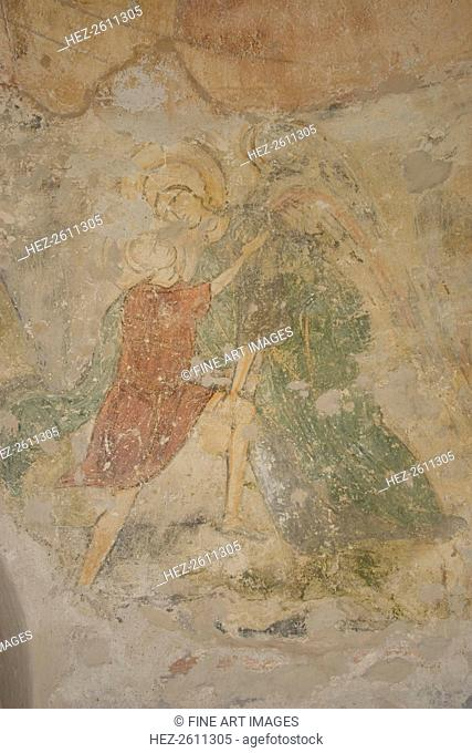 Jacob and the Angel, 12th century. Artist: Ancient Russian frescos