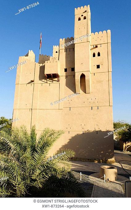 historic adobe fortification, Al Faiqain Fort or Castle near Manah, Dakhliyah Region, Sultanate of Oman, Arabia, Middle East