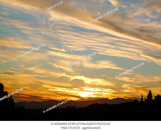 California sunset over Griffith Park, Los Angeles. United States