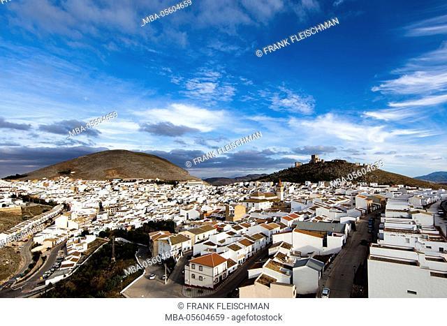 Teba, Castello de la Estrella, mountain village, Andalusia, aerial picture, province Malaga, Spain