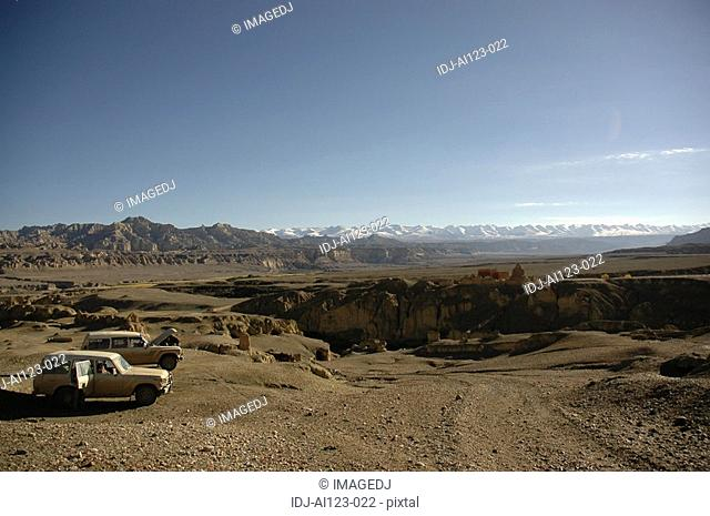 View of cars in an isolated place