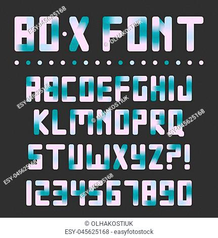 Colorful bright font with gradient transitions. Retro trendy 80x letters