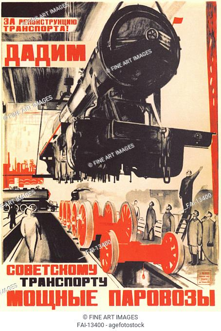 For the reconstruction of the transport! (Poster). Gromitsky, Iosif Ivanovich (1904-1991). Colour lithograph. Soviet political agitation art. 1931