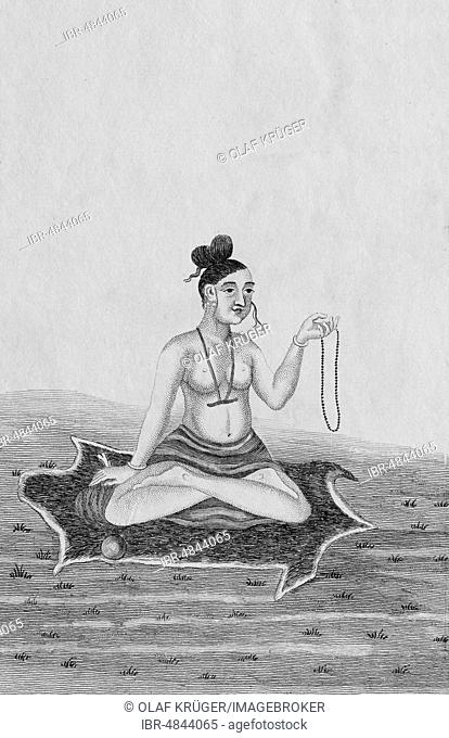 Meditating ascetic on tiger skin, copper engraving from Atlas Historique by Henri Abraham and Zacharie Chatelain, Amsterdam 1732, Netherlands