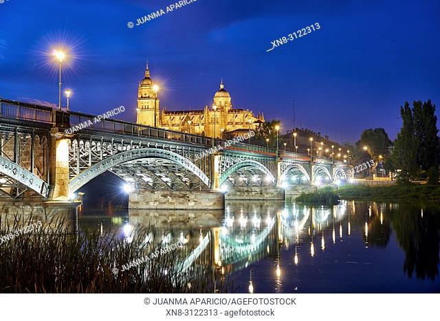 Cathedral of Salamanca at night view from the Enrique Estevan Bridge, Salamanca City, Spain, Europe