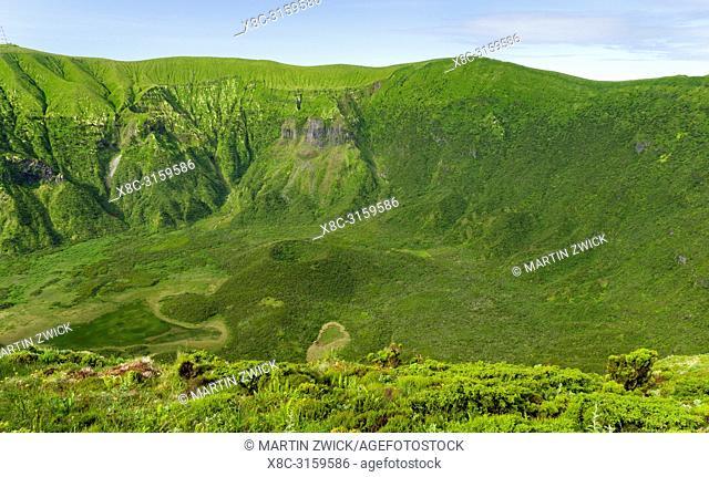 The Caldera of Faial at Cabeco Gordo. Faial Island, an island in the Azores (Ilhas dos Acores) in the Atlantic ocean. The Azores are an autonomous region of...