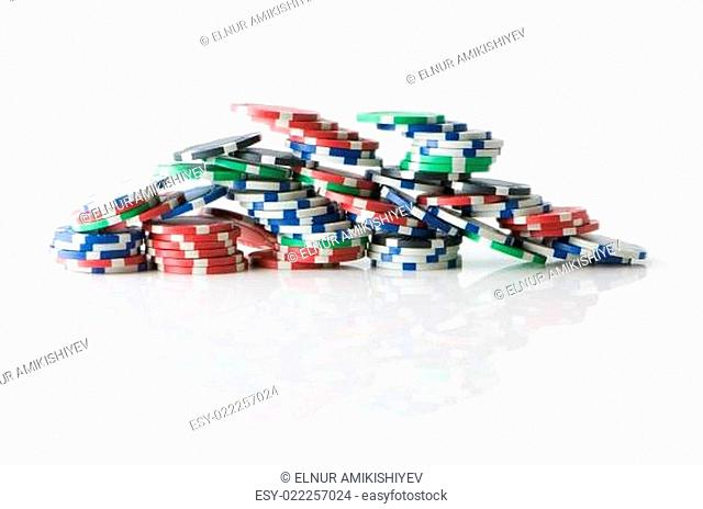 Stack of various casino chips - gambling concept