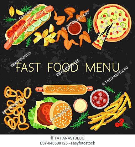 Fast food menu restaurant banner template with different dishes meals and drinks. Vector illustration eps 10
